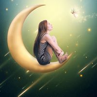 woman on moon crescent